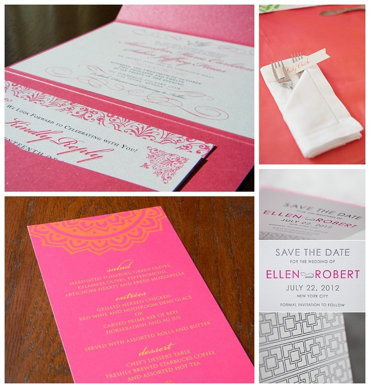 hot pink wedding stationery www.paperandhome.com