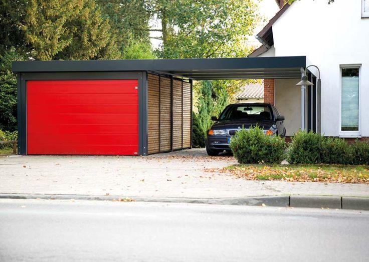 Doppelcarport mit Garage und Sektionaltor von Siebau