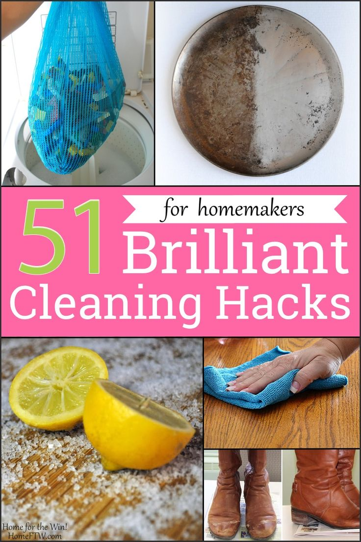 51 Brilliant Cleaning Hacks | Looking for an easy way to clean all the Legos in one fell swoop? Give your boots a shine they haven't seen in awhile? Make your stainless steel pots look brand new? Clean your whole house *really* fast... because company's on the way? Here's how... plus nearly 50 other cleaning hacks you've been waiting all your (homemaking) life for. | HomeFTW.com