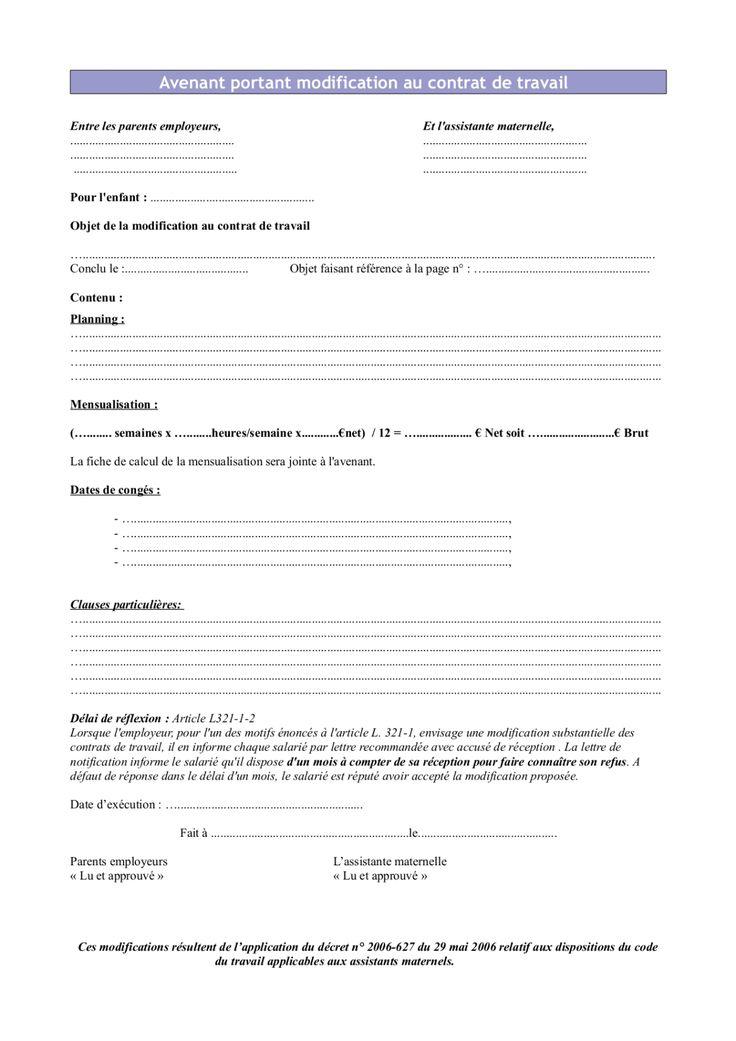 Avenant au contrat de travail 2013