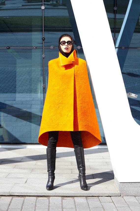 Orange felt cape poncho #photography
