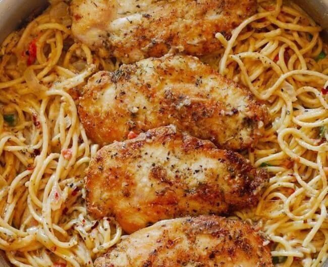 Chicken Pasta In Creamy White Wine Parmesan Cheese Sauce Recipe Italian Chicken Pasta Chicken Pasta Dishes Creamy Chicken Pasta
