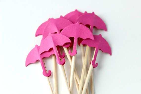 10 Hot Pink Umbrella Cupcake Toppers Birthday by SweetPaperLove