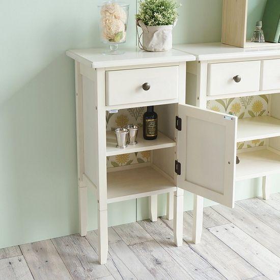 タンポポ柄でかわいいホワイト家具 ine reno(アイネ リノ)チェストスリム
