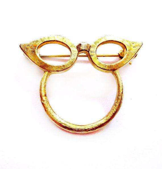 Antique Brooch Pin Eyeglass Holder Gold Finish: Vintage Eyeglasses Brooch, Gold Cat Eye Glasses Holder Pin