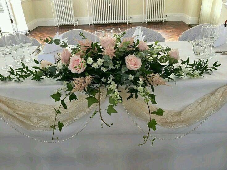 Pin By Barbara Leontyna On Kwiaty W Kosciele Bridal Table Flowers Table Arrangements Wedding Wedding Top Table Flowers