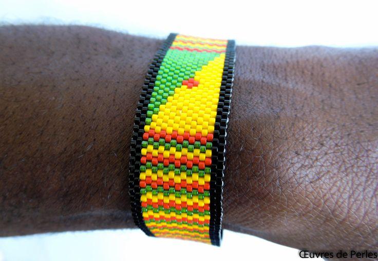 Bracelet / Manchette drapeau de la Guyane couleur rasta en peyote en perle Miyuki delicas rouge, jaune, vert bijoux rastafarian : Bracelet par oeuvresdeperles