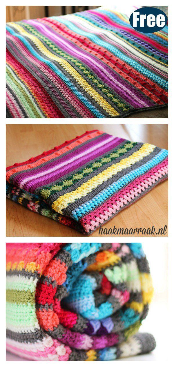 Stitch Sampler Stripe Blanket Free Crochet Pattern