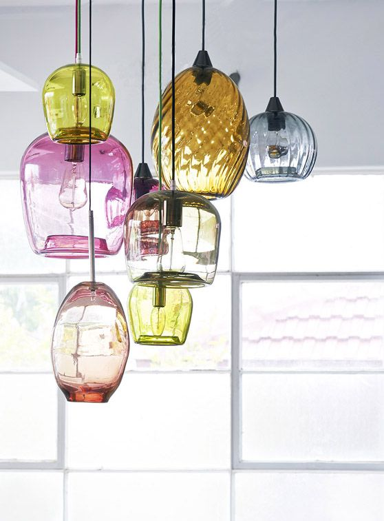 The 36 best glass pendant lighting images on pinterest hanging colorful glass blown pendant lights via the design files love this for over the island in the kitchen mozeypictures Image collections