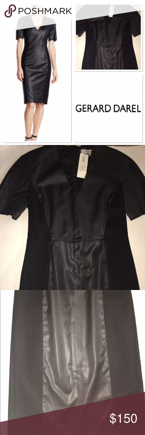 NWT Gerard Darel gorgeous black dress Size 38 beautiful European dress with short sleeved so fashion forward! 1 inch hole in seam can easily be fixed such a quality item Gerard Darel Dresses Midi