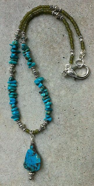 Turquoise Necklace, Beaded Necklace, Necklaces, Jewelry Design, Jewelry  Ideas, Birthstone Necklace, Necklace Designs, Gemstone Pendants, Jewelry  Making