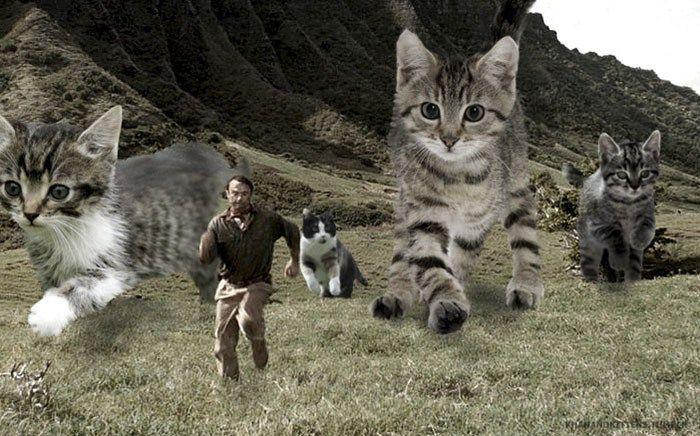 ジュラシック・パークの恐竜を猫にしてみた面白い写真21選