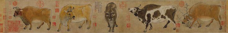 Хань Хуан. Пять Быков. VIII в. Гугун, Пекин. (Хань Хуан (кит. 韓滉) (723 – 787) – китайский государственный деятель и художник.)