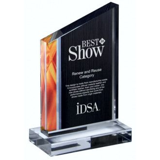 "Our Deco Flame Acrylic Award features a black acrylic area for engraving with an orange flame design on the left, all mounted on a clear acrylic base. The DT872B-F is 7.25"" tall, while the DT871C-F is 8.75"" tall."