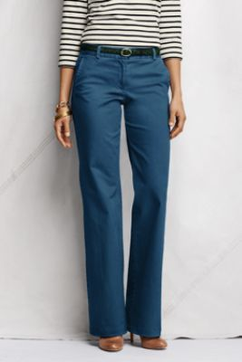Women's Pre-hemmed Fit 2 Mid Rise Stretch Chino Trousers from Lands' End