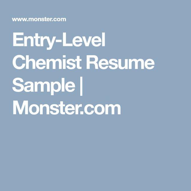 Entry-Level Chemist Resume Sample   Monster.com