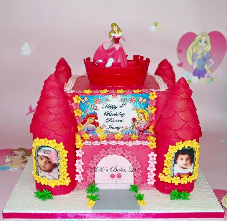 Pink Disney Princess Castle Birthday Cake with Edible Image Prints