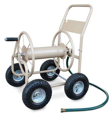 Who knew the purchase of a garden hose and reel could go so wrong! Do yourself a favor and go industrial if you need anything more than 50ft of hose.  Liberty Garden Products 870-M1-2 Industrial 300 - 4 Wheel Garden Hose Reel Cart - Tan by Liberty Garden Products, http://www.amazon.com/dp/B000AQLUCQ/ref=cm_sw_r_pi_dp_yn9esb0G4GA8N