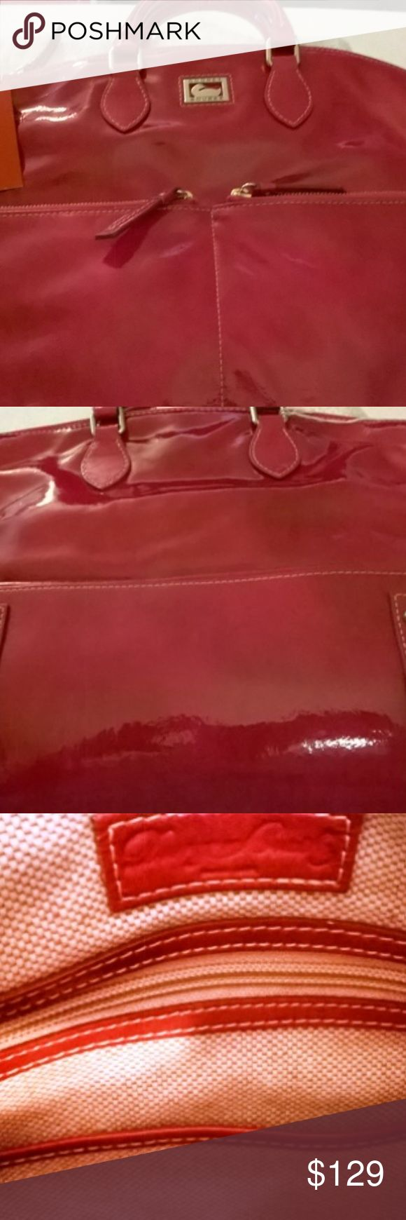Dillen Patent Leather Large Pocket Satchel-Fuschia This Coach Vintage Patent Leather bag is made from, of course, leather. it is then processed to a high glossy shine. It is NEW and has the registration card, tags, sticker attached in inner pocket and dust bag. This bag doesn't have any cracks in the leather because it has never been used and has been stored in its dust cover bag in a bin at even temperatures. This bag is a Fuchsia color. It has a zippered top closure and two front zippered…