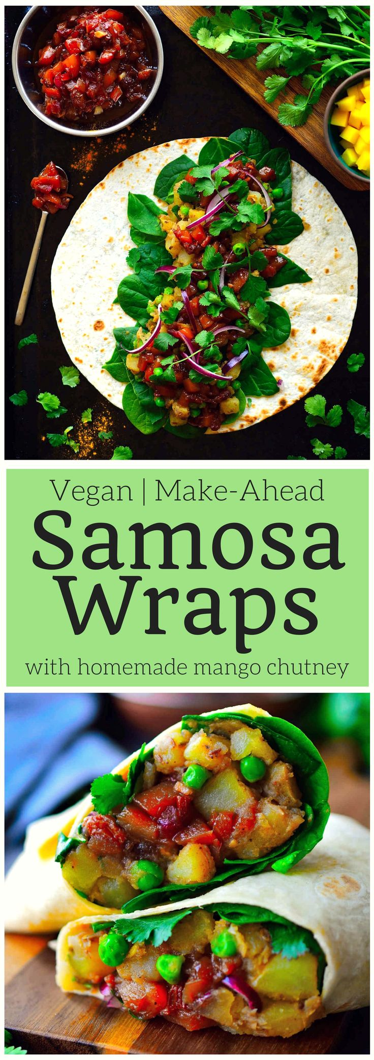 These vegan samosa wraps are super easy to put together with spiced potatoes and peas, crisp greens, spicy red onion and a simple homemade mango chutney. Make these samosa wraps ahead and freeze them for a quick lunch (or dinner) throughout the week.