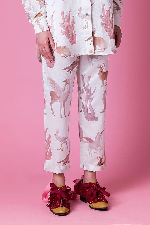 Белые пижамные штаны/WHITE PAJAMA PANTS