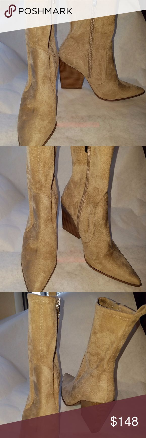 """Kendall +Kylie Fallyn Bootie 8 womens Tan FALLYN BOOTIE   KENDALL + KYLIE  SIZE  8  COLOR  New Camel    New Camel  Faux suede upper with man made sole Side zip closure Heel measures approx 4"""" H Revolve Style No. KENR-WZ65 Manufacturer Style No. KKFALLYN great condition have some wear on soles Kendall & Kylie Shoes Ankle Boots & Booties"""