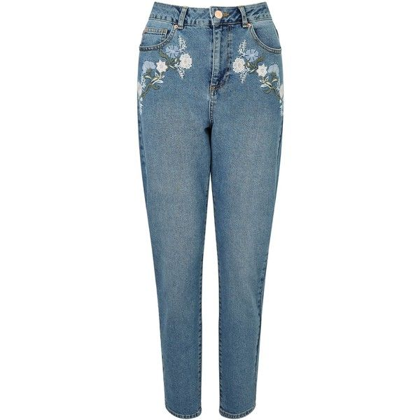 Miss Selfridge Embroidered Mom Jean ($47) ❤ liked on Polyvore featuring jeans, women jeans, embroidered jeans, miss selfridge, miss selfridge jeans, embroidery jeans and blue jeans
