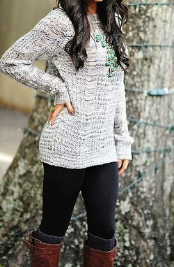 Gray long sweater + black leggings+ dark gray leg warmers--can't wait to wear something like this and look good.