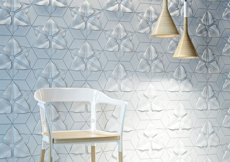 Room With Chair And Floral Motifs Soft And Organic Design: Textural Concrete  Tiles With Flowery