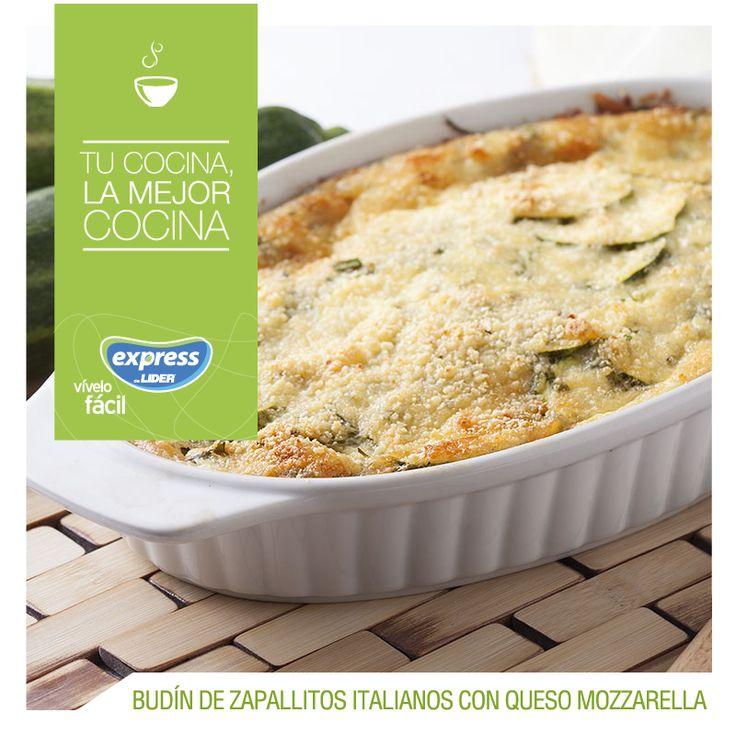 Budín de zapallitos italianos con queso mozzarella #Recetario #Receta #RecetarioExpress #Lider #Food #Foodporn