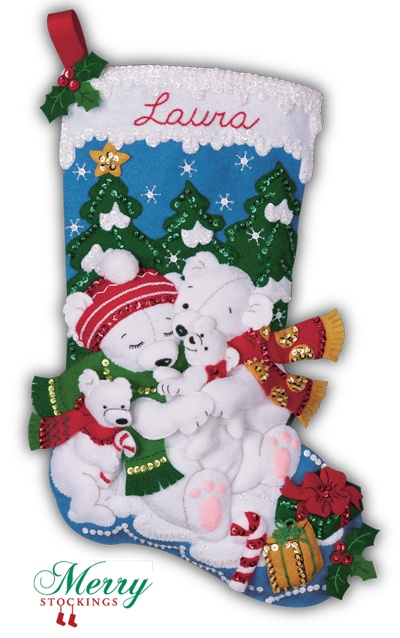 """Bucilla Felt Christmas Stocking Kit, old discontinued kit """"Polar Bears"""" re-manufactured exclusively for MerryStockings.com. Available 1/1/13 for $34.99."""