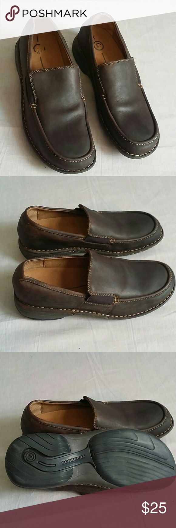 Rockport Shoes Brown 7.5 M Leather Slip-on Item is in a good condition, NO PETS AND SMOKE FREE HOME. Rockport Shoes Flats & Loafers
