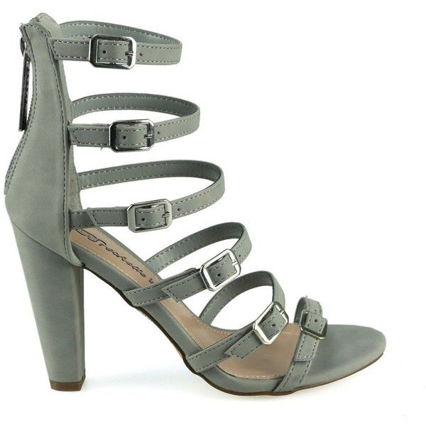 Devon-22 Grey Buckle Detail Strappy Chunky Heels (1 PAB) ❤ liked on Polyvore featuring shoes, sandals, strappy sandals, gray sandals, zip back sandals, grey shoes and thick heel sandals