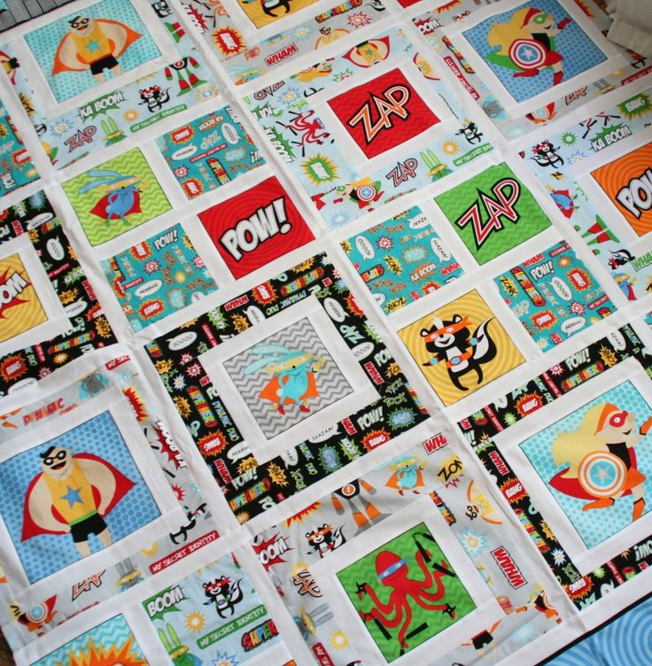 great kids quilt design - superhero quilt -- BetterOffThread- make with Star Wars or Angry Bird theme?