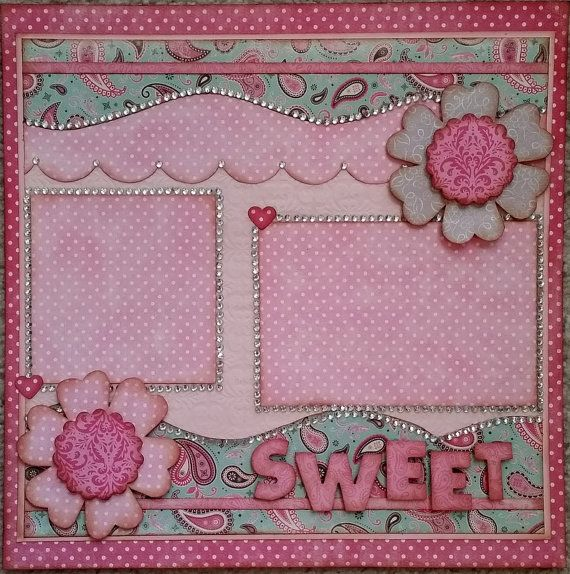 Premade Single 12 x 12 Page Layout Scrapbook by OneGreyCatDesigns