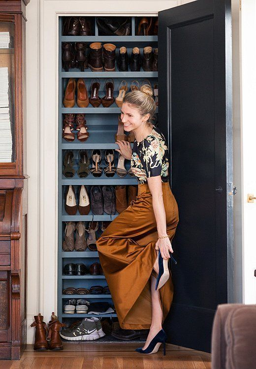 Smith ingeniously turned a shallow, unused living room closet into a place to store (and display) her shoes. Brilliant!