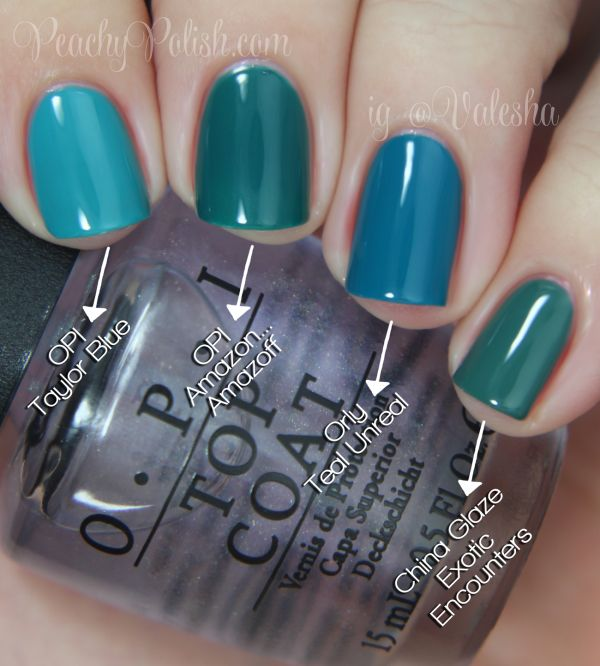 """Pointer to pinkie; 2 coats of each: OPI """"Taylor Blue"""", OPI """"Amazon… Amazoff"""", Orly """"Teal Unreal"""" & China Glaze """"Exotic Encounters""""."""