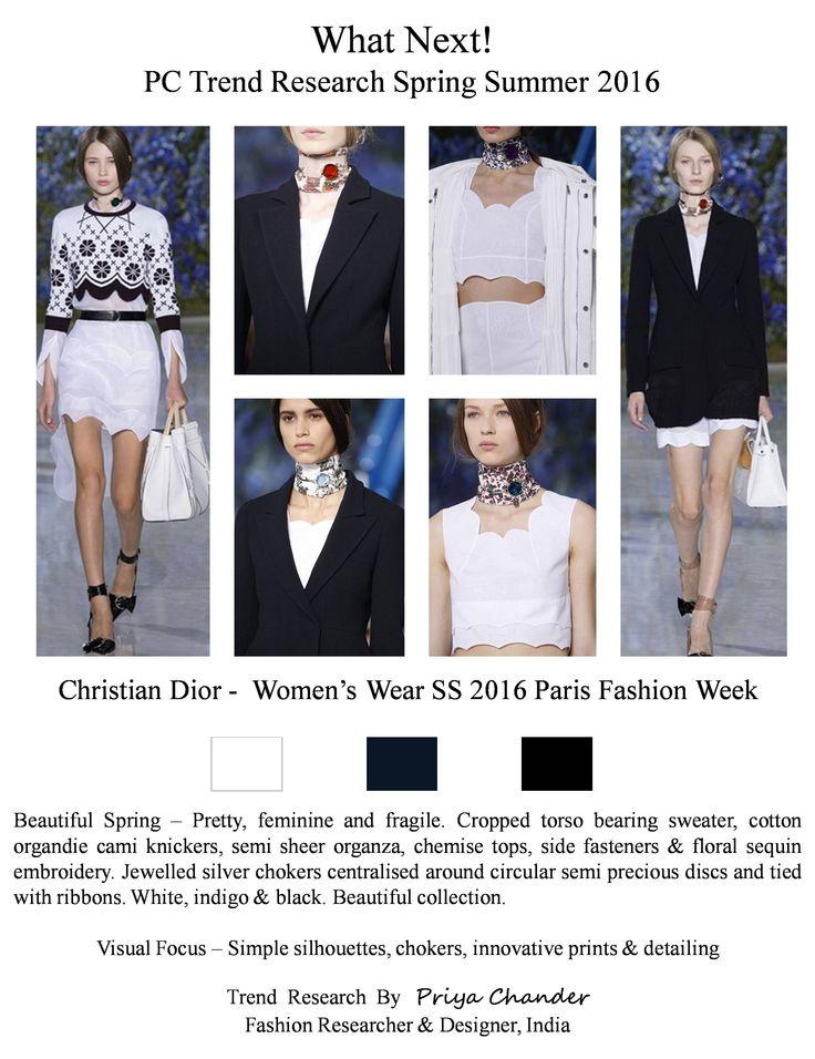 #ChristianDior #PFW #SS16 #indigo #white #black #feminine #croppedtorso #sheer #organza #chemisetops #pctrendresearch #womenswear #fashiontrends2016 #floralembroidery #sequins #chiffon #jewelled #silverchokers #semiprecious #discs #youthful #ribbons #RIHANNA #woolsuits #stripedparkas #Parisfashionweek