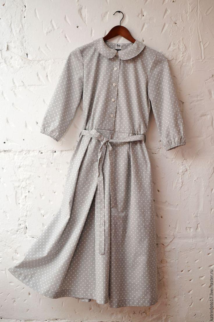 """Купить Платье """"Горошек"""" - серый, в горошек, пышное платье, платье миди, ручная работа"""