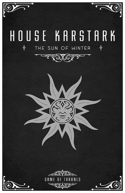 "House Karstark Sigil Silver Sun Motto ""The Sun Of Winter"
