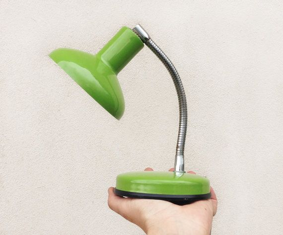 Vintage 70s desk lamp / green enamel Italian by Skomoroki on Etsy