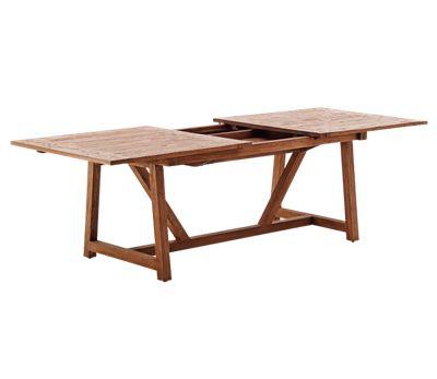 Lucas teak udtræksbord - er et langbord i genbrugsteak, med udtræk til 2 tillægsplader.  Størrelse: L200(280) x B100 x H72 cm. Teakbordet er lavet af genbrugstræ fra nedrevne huse og gamle fiskerbåde.  Bordene fås også til udendørs brug i en lidt anderledes udførsel, hvor der er mellemrum mellem plankerne.