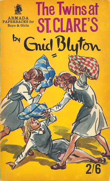 "A series of six books St. Clares, a boarding school, and follows the antics of Patricia ""Pat"" and Isabel O'Sullivan from their first year at St. Clare's on. Other characters include Alison O'Sullivan (the twins' cousin), Hilary Wentworth, Carlotta Brown (an ex-circus girl), Janet Robins, Doris Elward, Claudine, Antoinette and Roberta 'Bobby' Ellis. ~ The Twins at St. Clares ~ Enid Blyton"