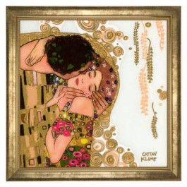 """Goebel - Artis Orbis - Gustav Klimt - The Kiss - Picture (Limited Edition - 500 pcs.) - Glass picture with gold-plated décor in wooden frame showing """"The Kiss"""" by Gustav Klimt. Limited Edition: 500 pieces with certificate. Length: 60 cm. Width: 60 cm."""