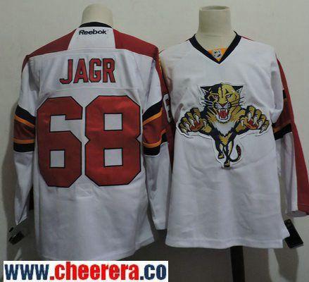 Men's Florida Panthers #68 Jaromir Jagr White Away Stitched NHL Reebok Hockey Jersey