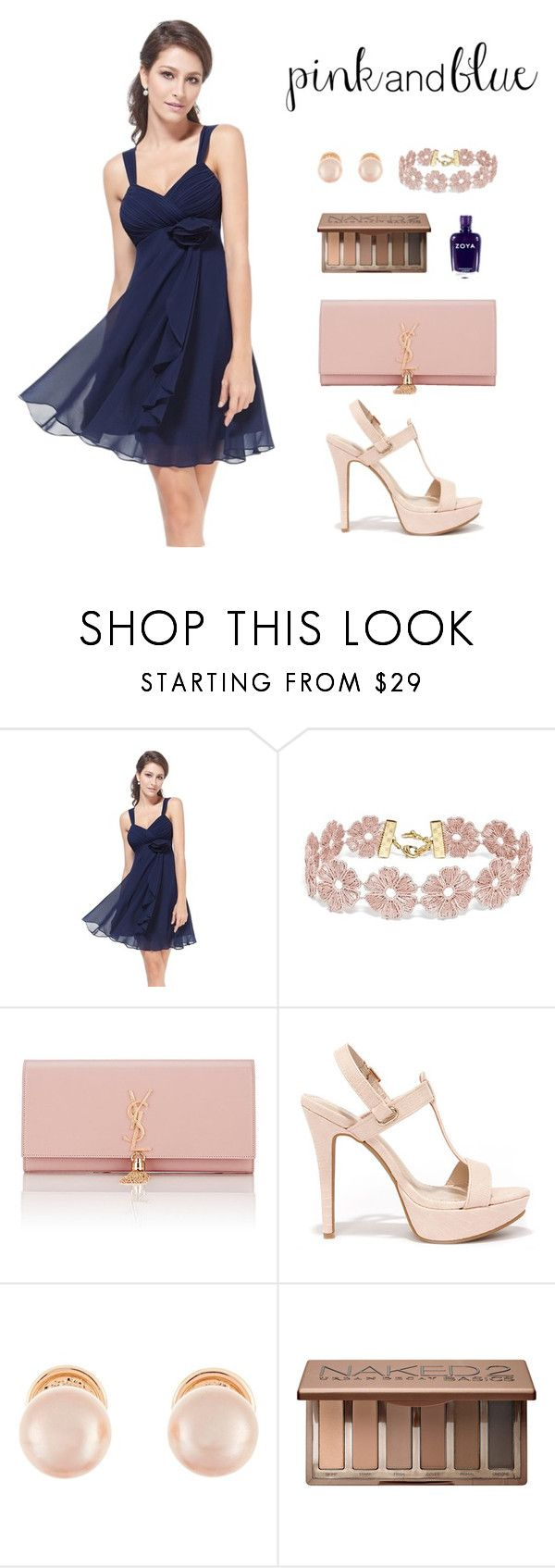"""""""Pink and blue graduation"""" by fantalisa on Polyvore featuring moda, BaubleBar, Yves Saint Laurent, Anne Michelle, Kenneth Jay Lane, Urban Decay e Zoya"""