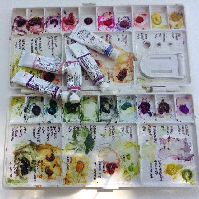 This is my botanical palette. I use this palette both in the studio and in the field. I found that these colors were all that I needed to paint all the different florals.