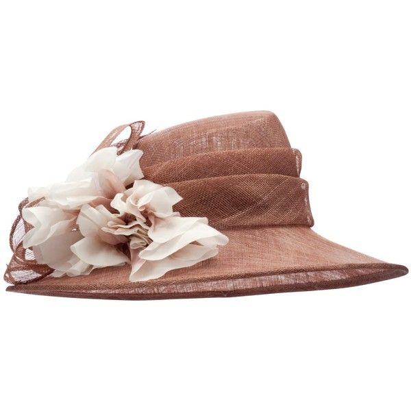 John Lewis Paige Flower Occasion Hat, Pink Mocha (1.151.970 IDR) ❤ liked on Polyvore featuring accessories, hats, hair, wide brim hats, pink wide brim hat, pink hats, flower hat and john lewis