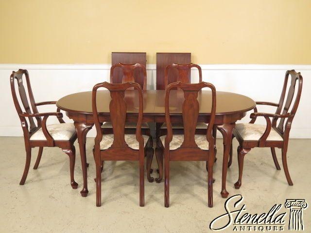 37725/37726E: HENKEL HARRIS Cherry Queen Anne Dining Room Table U0026 Chair Set