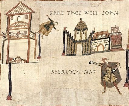 The Reichenbach Fall as the Bayeaux Tapestry. I maybe laughed at this way longer than I should have.